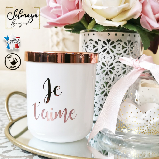 Bougie personnalisable blanc & rose gold