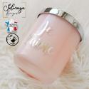 Bougie parfumée personnalisée rose et argenté