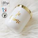 Bougie parfumée personnalisée - Blanche, écriture doré 165gr