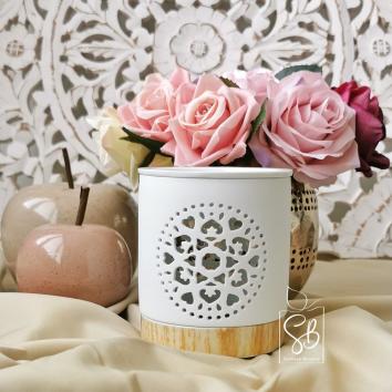 Rosa - Bruleur pour fondant parfumé blanc et socle imitation bois