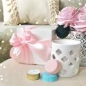 Coffret parfumé Rose - Coffret de fondants parfumé avec bruleur blanc